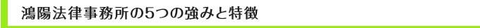 鴻陽法律事務所の5つの強みと特徴